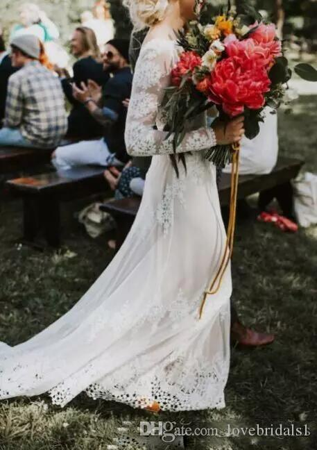 2018 Gorgeous Sexy Backless Boho Bridal Gowns with Long SleevesLace A Line Floor Length Country Bohemia Wedding Dress Custom