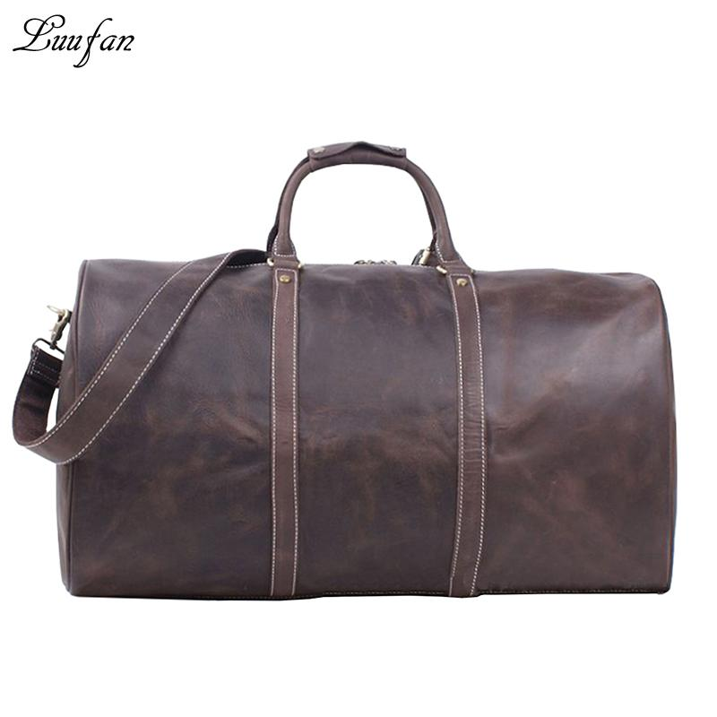 131550633a Men S Crazy Horse Leather Travel Duffel Big Genuine Leather Travel Bag 24  Vintage Cowhide Boston Bag Large Weekend Tote Suitcase Kids Kids Suitcases  For ...