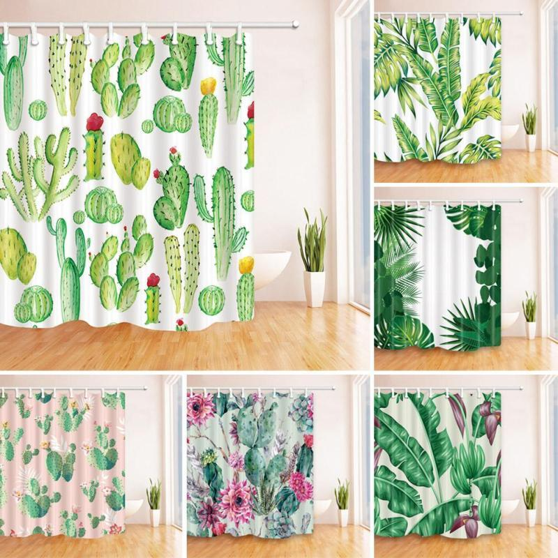 2018 Polyester Colourful Green Leaves Shower Curtain Cactus 3d Plant ...