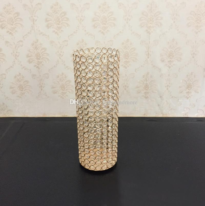 Gold Silver color crylinder shape crystal beaded flower holder stand wedding table centerpiece votive candle holder party decor