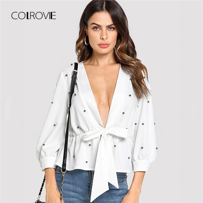 f288fb5ca6 2019 20187 COLROVIE White Sexy Deep V Neck Pearl Beading Knot Front Ruffle Shirt  Women Blouses 2018 Fall OL Women Clothing Long Sleeve Top From Huang01
