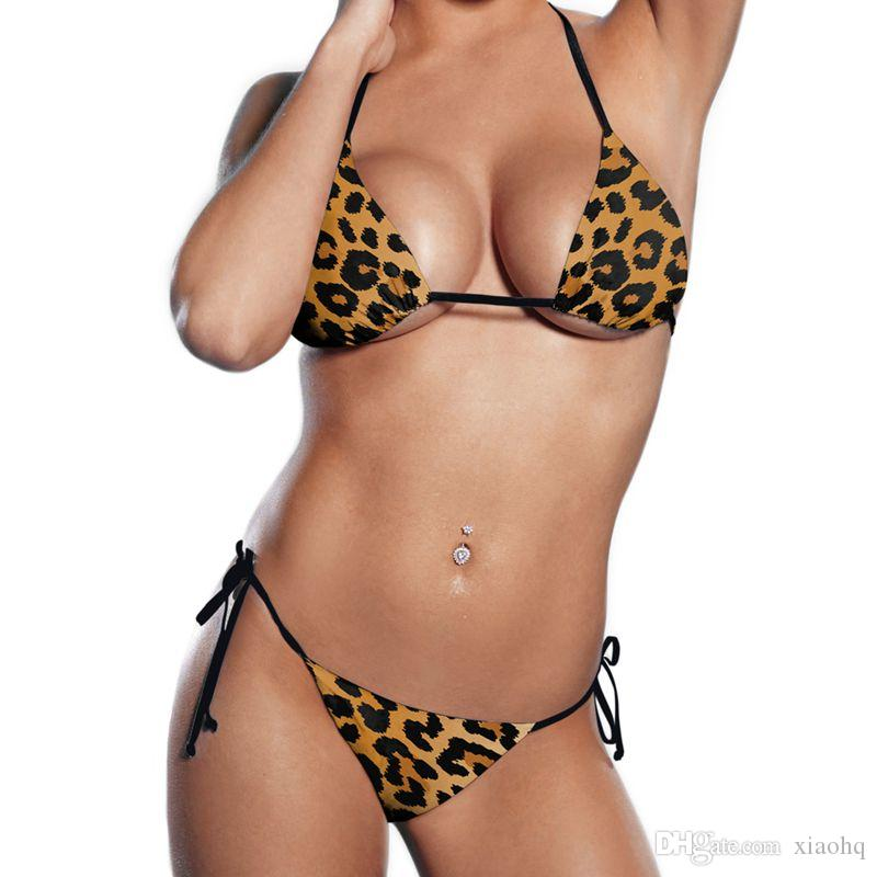 New Design Fashoin Leopard 3D Prints Sexy Girl Summer Thongs Ropes Bikini Set Swimsuit Swimwear Women Bathing Suit Bikini Two-Piece Suits