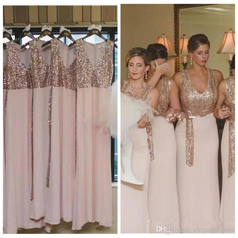 0895a271bb44 2018 V Neck Chiffon Rose Gold Sequins Top Long Bridesmaid Dresses ...
