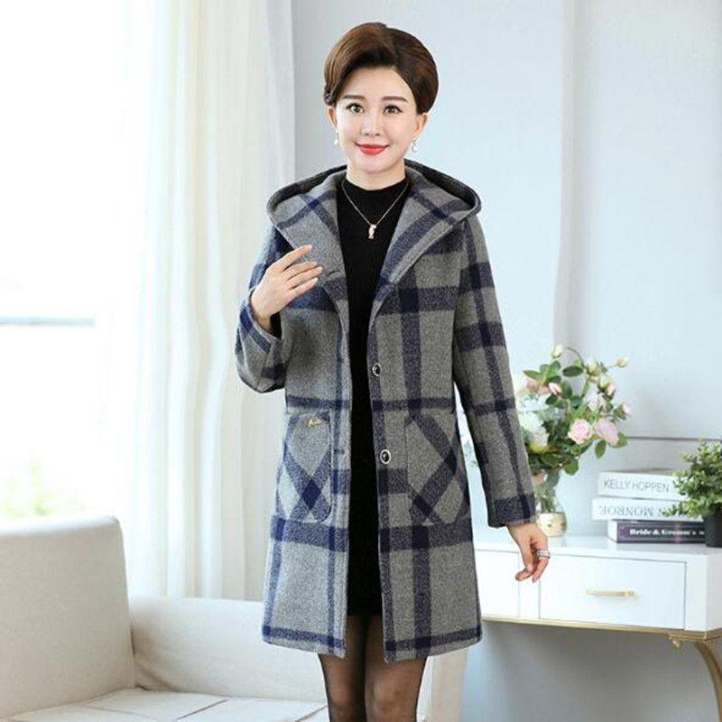 0d9e0df58f59 2019 Middle Aged Hooded Coat Plaid Woolen Overcoat Female Autumn ...