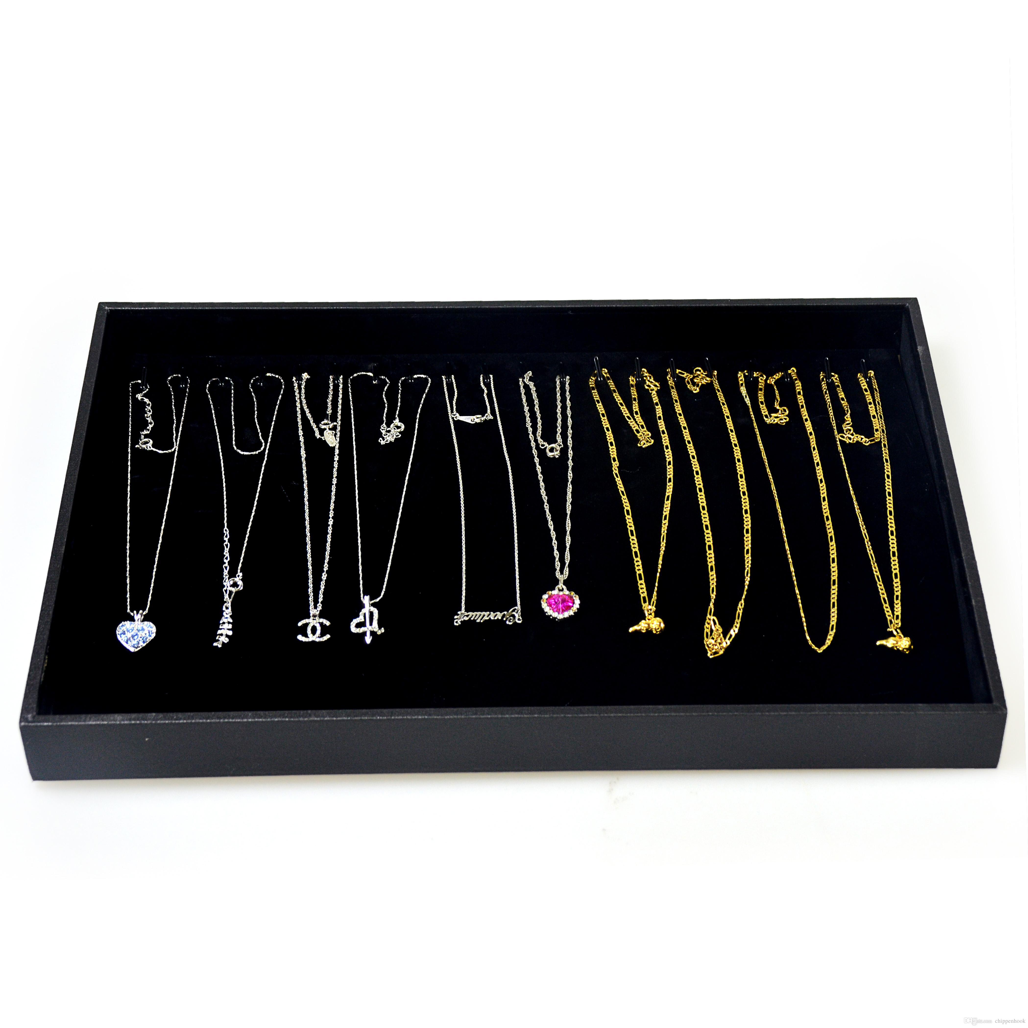 High Quality Wooden Jewelry Display Tray Necklace Bracelet Bead Chain Storage Case Black Pendant Organizer Display Tray 35*25*3cm