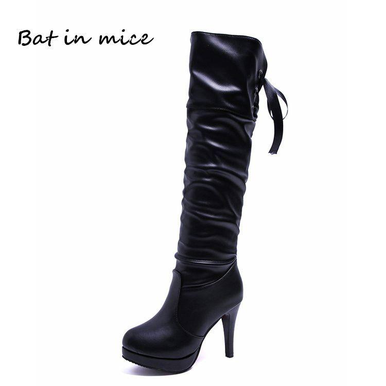 99b1f6feabd Compre Mujeres Casual Rodilla Botas Altas Zapatos PU De Cuero Mujer Invierno  Cálido Punta Redonda Slip On Tacones Altos Bombas Botas De Nieve Zapatos  W508 A ...