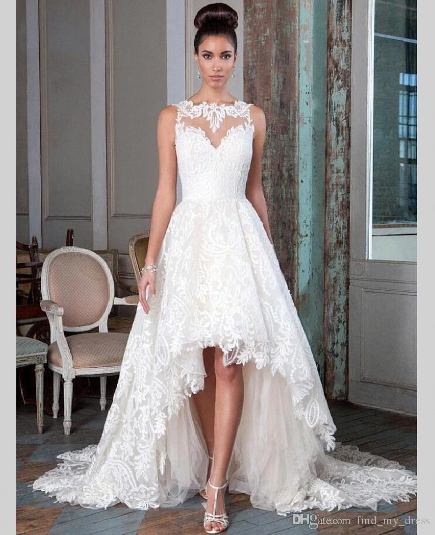 Discount New Chapel Train Hi Lo Short Front Long Back Wedding Dress 2018 Lace Princess A Line Bridal Gown Custom Made Romantic High Quality Modern: High Back Wedding Dress At Reisefeber.org