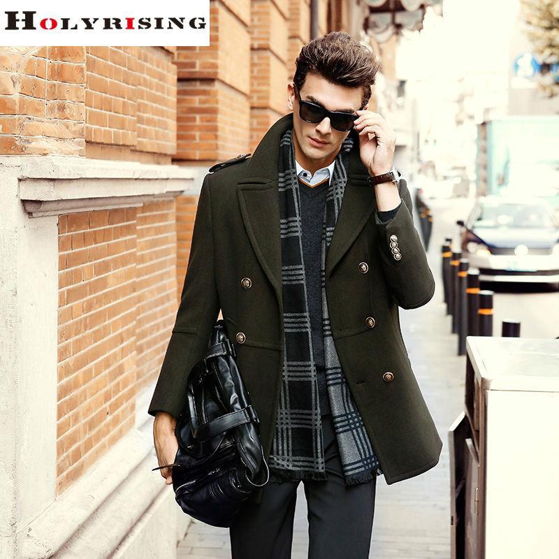 Men Wool Coats Winter Fashion ElegantLong Double Button Jackets Male Peacoat Mens Overcoats 5 Colours Holyrising