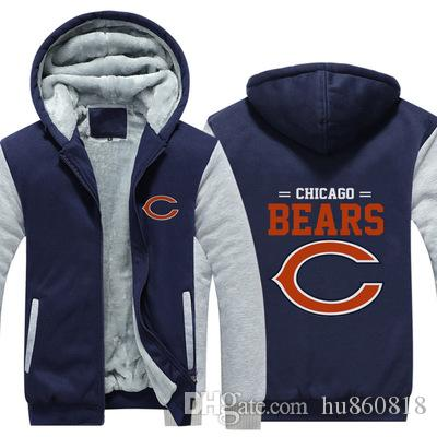 New Chicago Bear Sweatshirt Big Team Logo Warm Fleece Thicken Jacket ... dea5b3193
