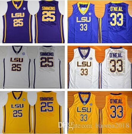 d0c161865ce6 ... university basketball lsu tigers jerseys 33 shaquille oneal o neal 25  ben simmons jersey men college