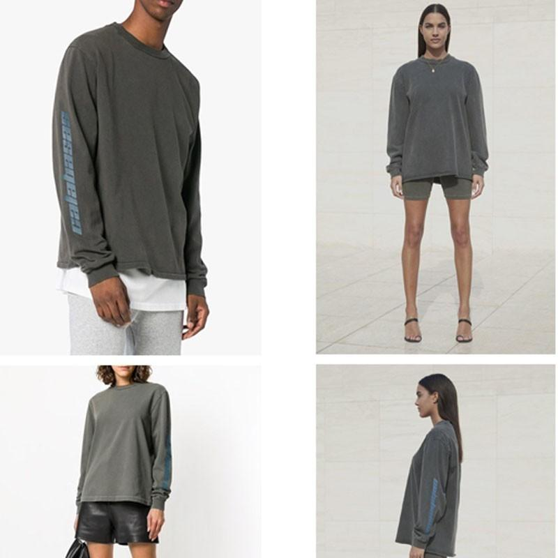 91ea71300ec7 18SS SEASON 6 Long Sleeve CALABASAS OVERSIZE T-Shirt Retro High Street  Kanye Same Men And Women Couples Round Neck Sweater HFSSWY112 Sweater Hoodie  High ...