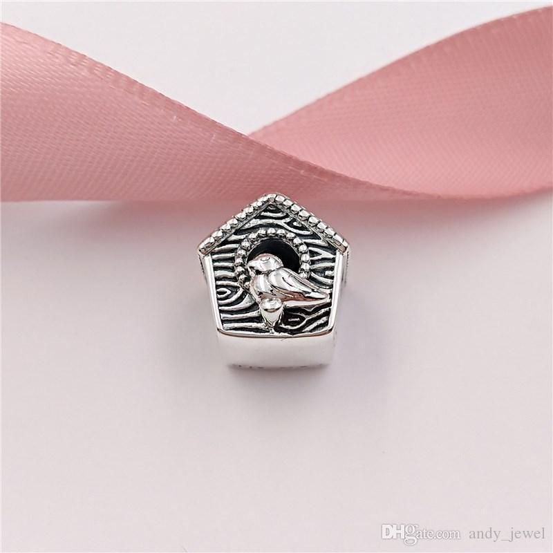 Autentico 925 perline in argento sterling 925 Primavera Bird House Charms Adatto a Bracciali europei di gioielli in stile Pandora Collana 797045