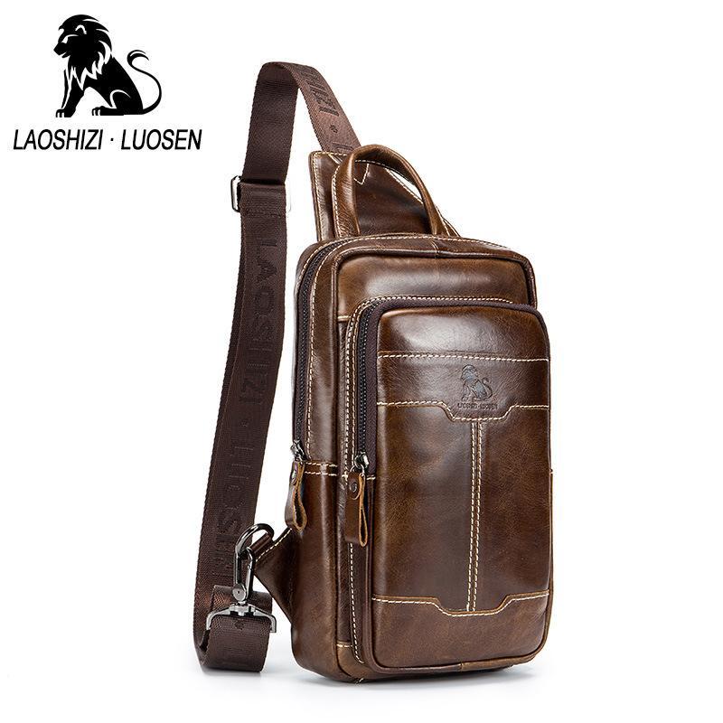 3abb90a1aeb6 LAOSHIZI LUOSEN 100% Men s Genuine Leather Chest Bags Men Crossbody Bag  Chest Pack Man Shoulder Messenger Bag Male Small Handbag Waist Packs Cheap  Waist ...