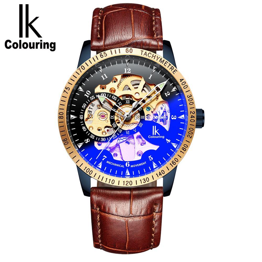 4d921a173d4 Compre Ik Coloração 2018 Moda Masculina Relógio Pulseira De Couro Homens  Relógio De Pulso Esqueleto Automático Relógio De Pulso Mecânico Erkek Kol  Saati De ...