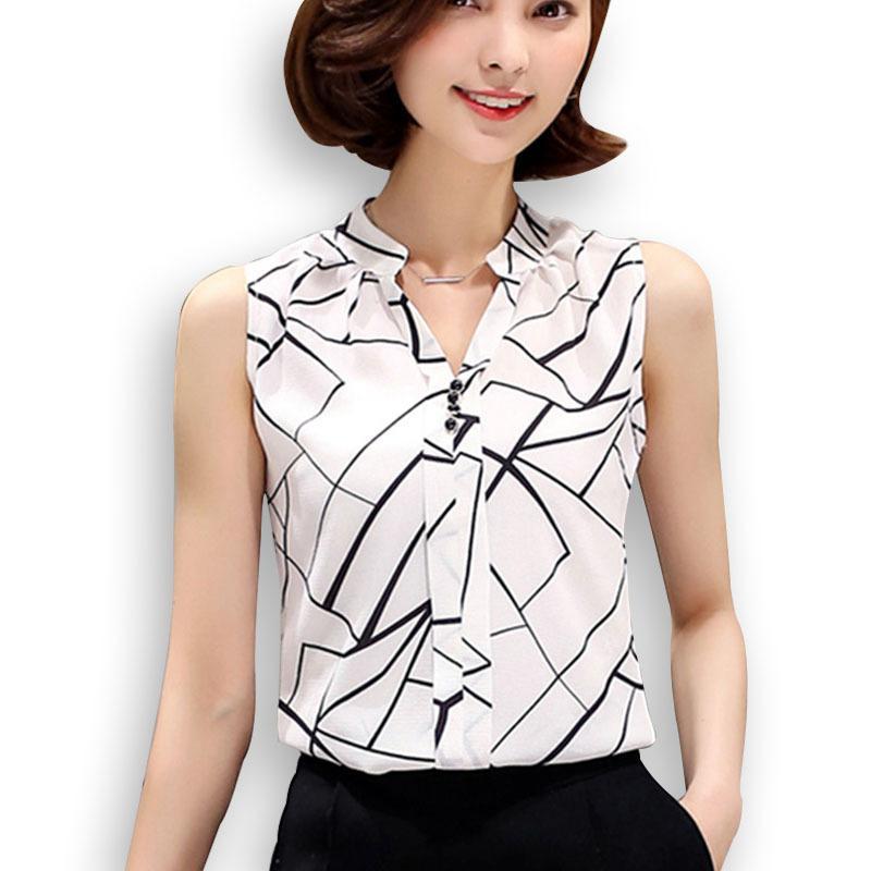 47c926cd647f Nuevo 2016 camisa de gasa de verano blusa de las mujeres sin mangas  impresas top blusas blancas camisas mujer oficina tops