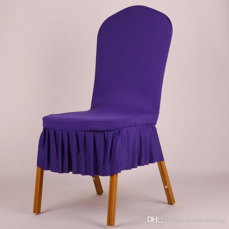 Elegant Pleated Skirt Wedding Chair Cover Short Style Spandex Stretch Dining Room Stool Seat Chair Cover
