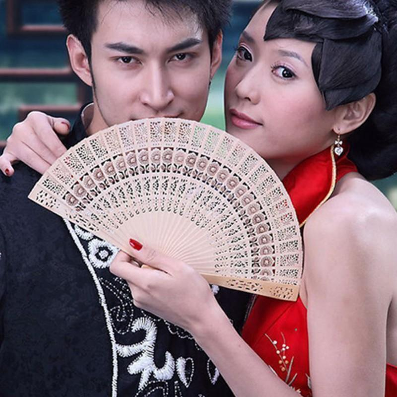Chinese Original Wooden Carved Hand Fan Folding Bamboo Wedding Bridal Party Fan Hot Sale