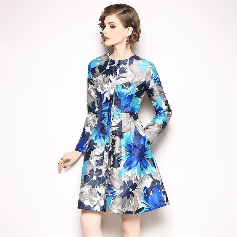 Print Floral Dresses Women Casual Pleated A Line Dress Slim Fit ... c7a9489b8e68
