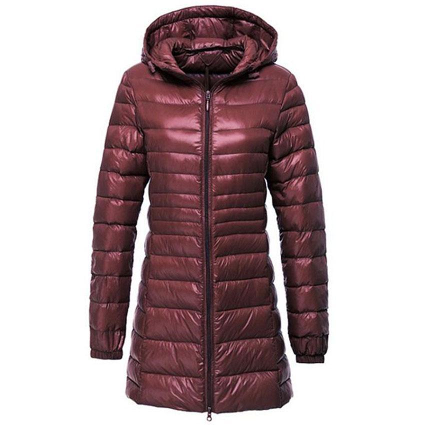 best cheap 82fc3 15f50 Piumino ultraleggero da donna Autunno Inverno Caldo anatra bianca Piumino  lungo Parka Cappotto leggero sottile con cappuccio Plus Size S ~ 6XL AB497