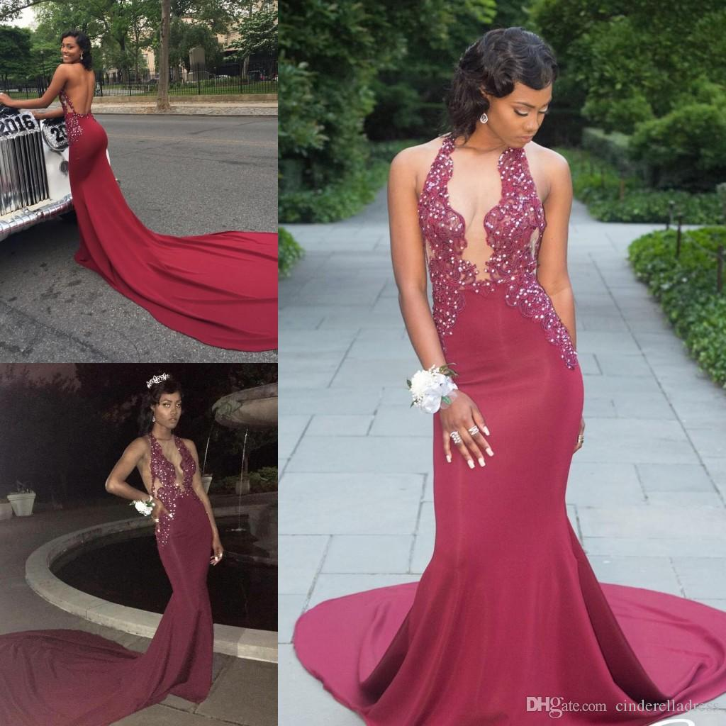 Sexy Plunging V Neck Burgundy Prom Dresses 2018 Mermaid Appliques ...