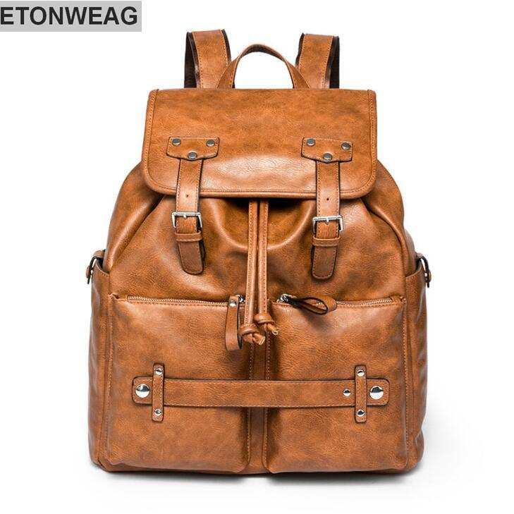 f48707e662eef Factory Wholesale Brand Male Bag Fashionable Leather Backpack College Wind  Belt Decoration Student Backpack Retro Leather Travel Backpack.