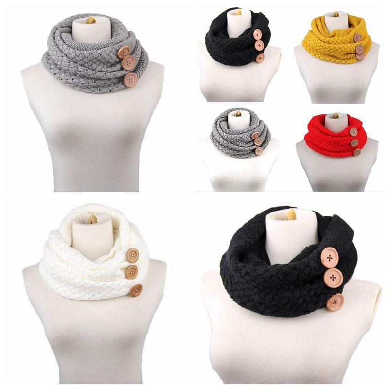 bebf333d8 2019 60*30cm Winter Warm Knitted Infinity Scarf Luxury Women Solid Color Crochet  Pattern Chunky Big Button Knitted Ring CCA10210 From Kids_dress, ...