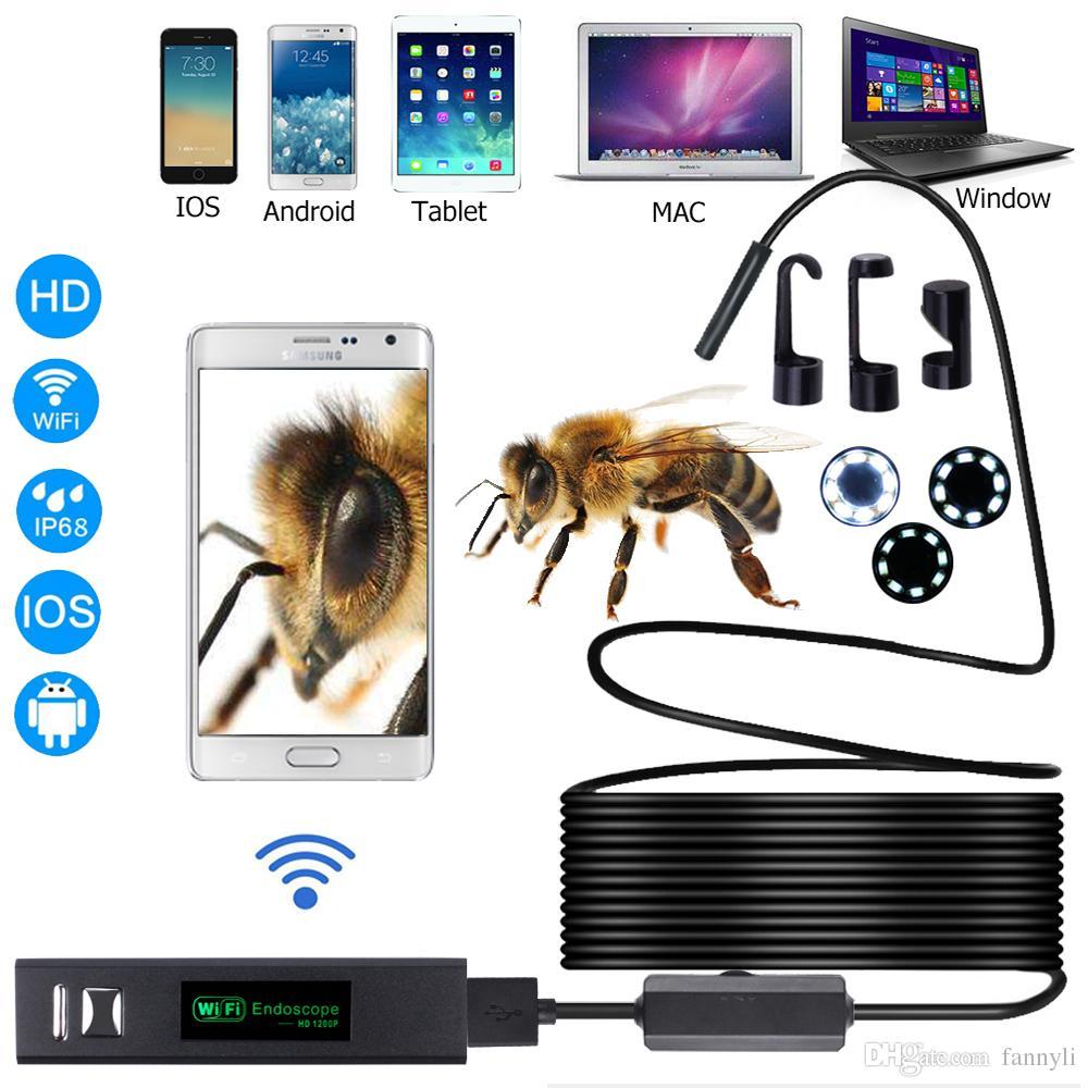 Telecamera endoscopio wifi HD 1200P con Android IOS Endoscopio 8 LED 8mm Cavo fotocamera da 10 m impermeabile tubo ispezione a boroscopio