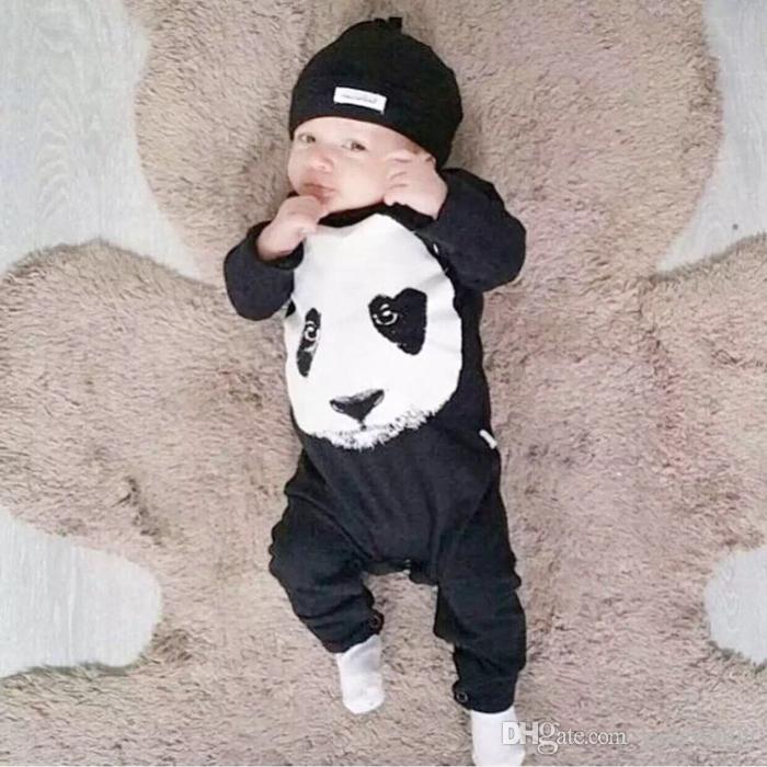 Yeni sonbahar bebek tulum moda pamuk siyah uzun kollu panda baskı yenidoğan bebek erkek ve kız giysileri bebek giyim
