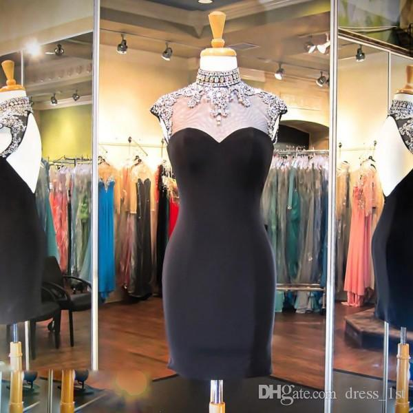 Sexy Little Black Cocktail Dresses Sheer Beaded Collar Capped Sleeves Sheath Open Back Black Satin 2018 Prom Dress