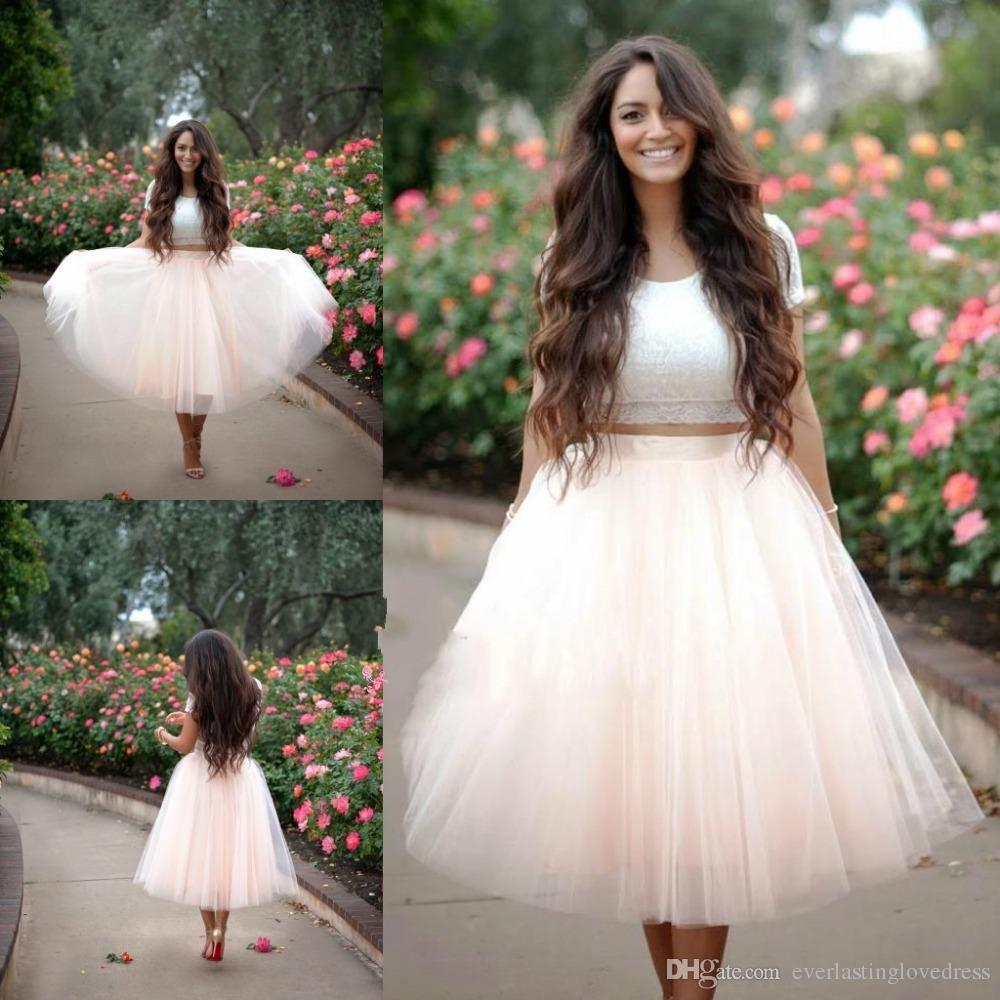 Jewel Neck A Line Two Pieces Lace Tulle Short Sleeves Lace Cream Homecoming Dress vestido corto para fiesta