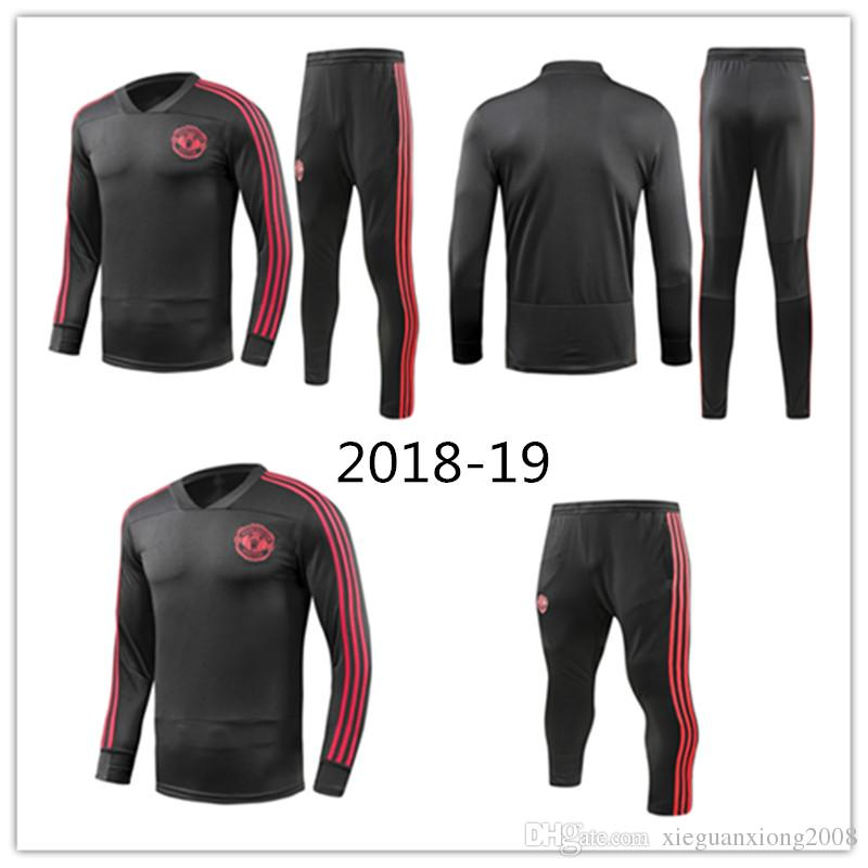 ecc0e7359f3 Soccer Tracksuit Jacket Long Sleeve Suit Kit Soccer Jersey Manchester  Training Uniform 2018 19 Football United Suits Jacket+Pant Online with   40.99 Piece on ...