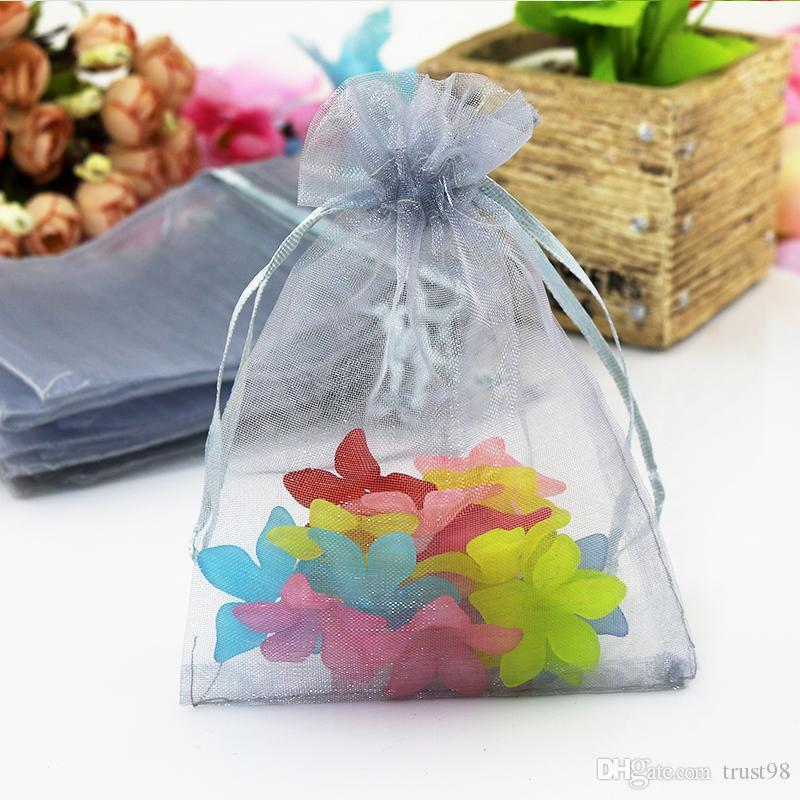 Argent gris organza cordon pochette Party Candy sac boucles d'oreilles bague collier Braceklets bijoux cadeau emballage sac