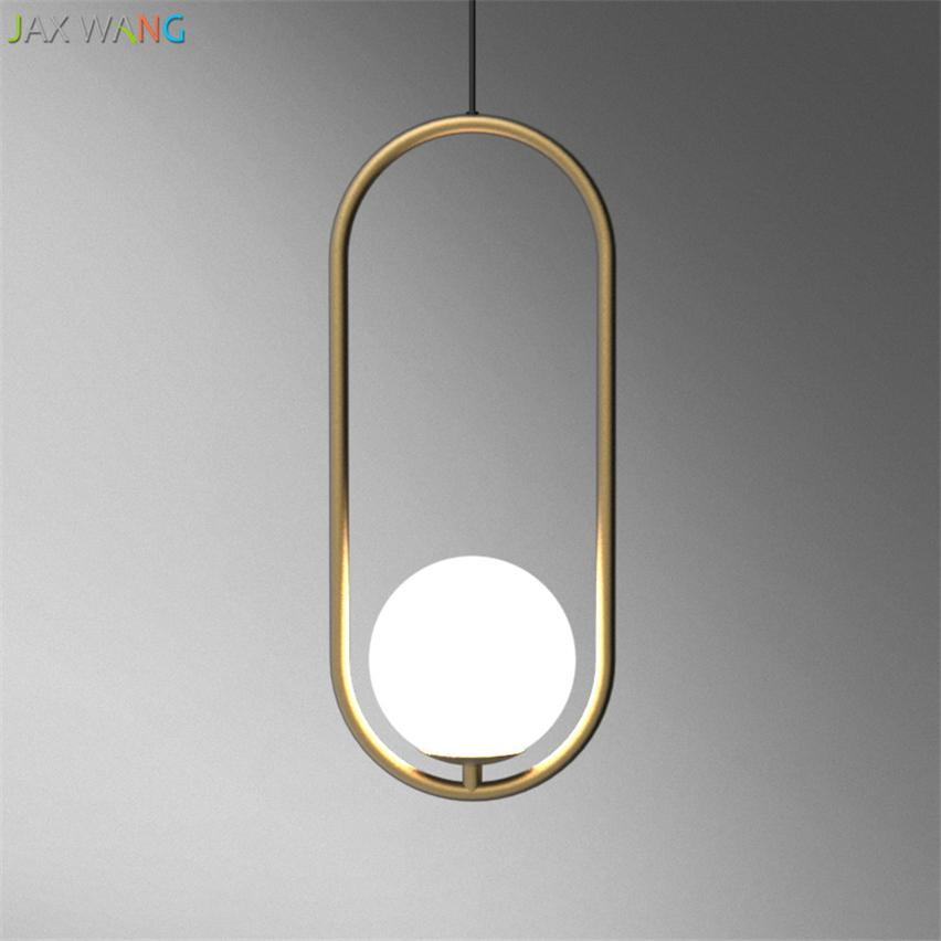 promo code 1da3c 152fd American Creative Glass Ball Pendant Lights Iron Hoop Hang Lamp for Bedroom  Cafe Restaurant Bar Indoor Lighting Fixtures Decor