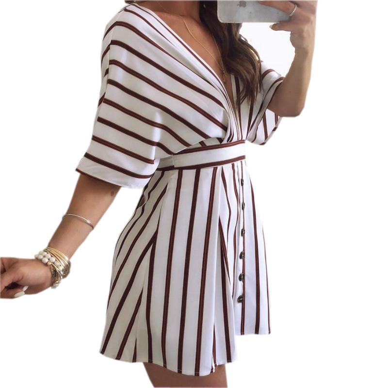 Summer Beach Sundress Sexy Deep V Neck Party Club Dress Tie Up Backless Striped  Dress Buttons 2018 Elegant Women Dresses GV606 Black Woman Dress Sundress  ... da0f4fc9e