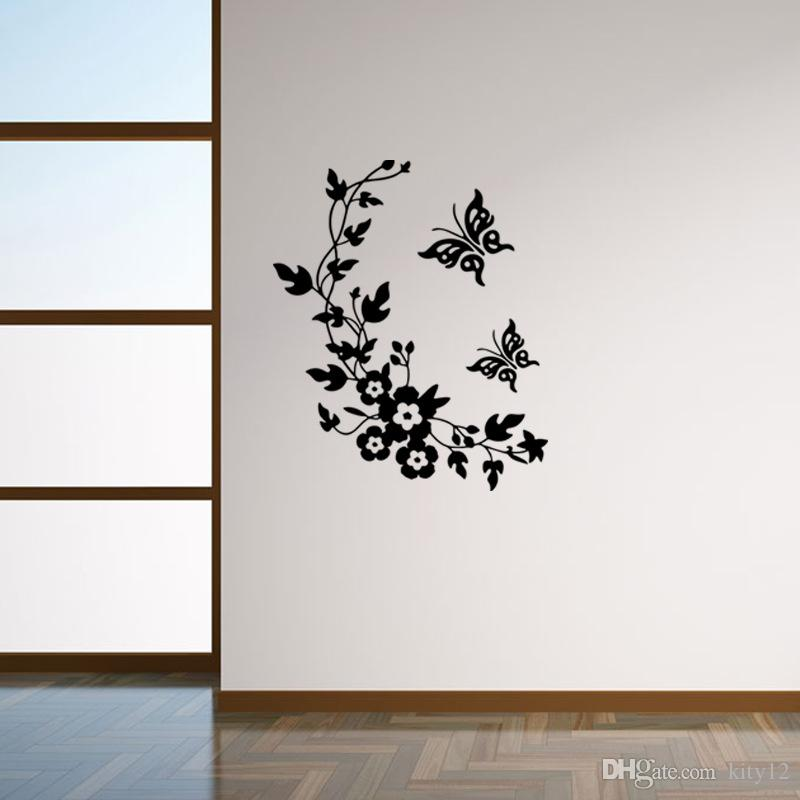 Wholesale Butterfly Flower Vine Wall Stickers Decal WaterProof Multi Function Bathroom Toilet Door Poster Home Decor