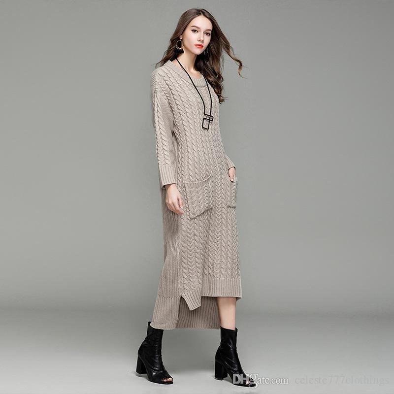 Acheter 2018 Mode Style Femmes Laine Tricot Longues Robes Sexy Col Rond À Manches  Longues À Tricoter Robe Printemps Automne Outwear HOT SALE De  71.01 Du ... 4cd96c087c8b