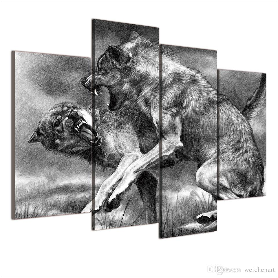 canvas painting wolves fight and bite HD posters and prints canvas painting for living room XA-1905A