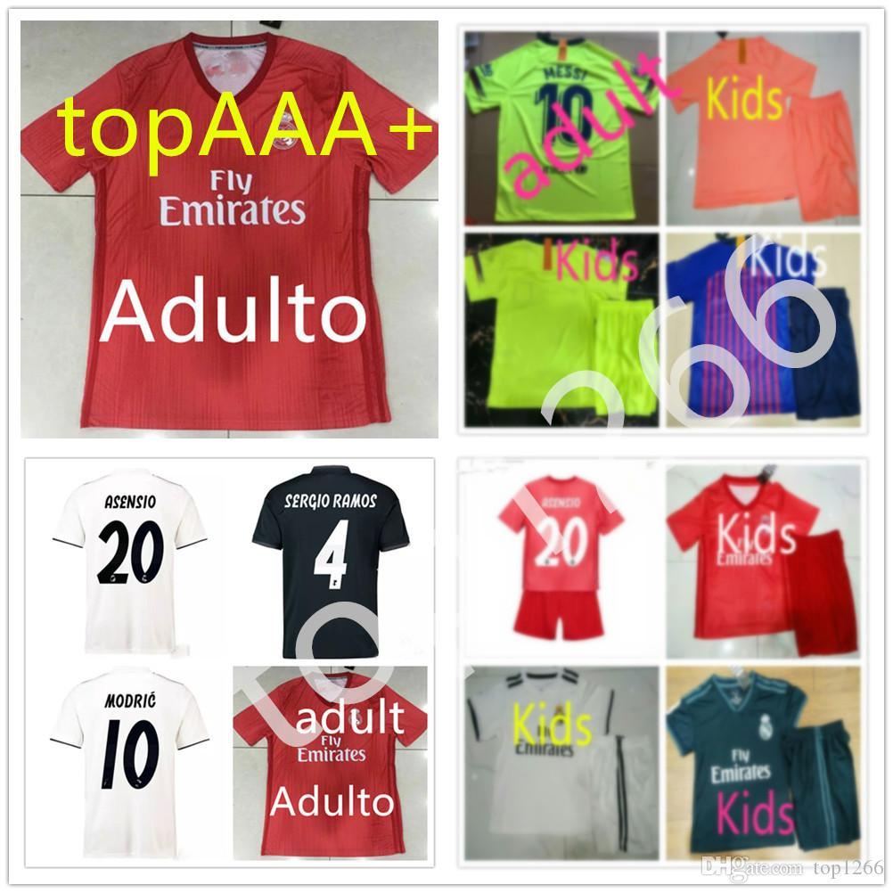 New Barcelona 18 19 Real Madrid Kids Mes Soccer Jersey Messi Asensio BALE  ISCO Maillot Camiseta De Fútbol Maillot De Foot Maillots De Football Por  Top1266 db939c489e8