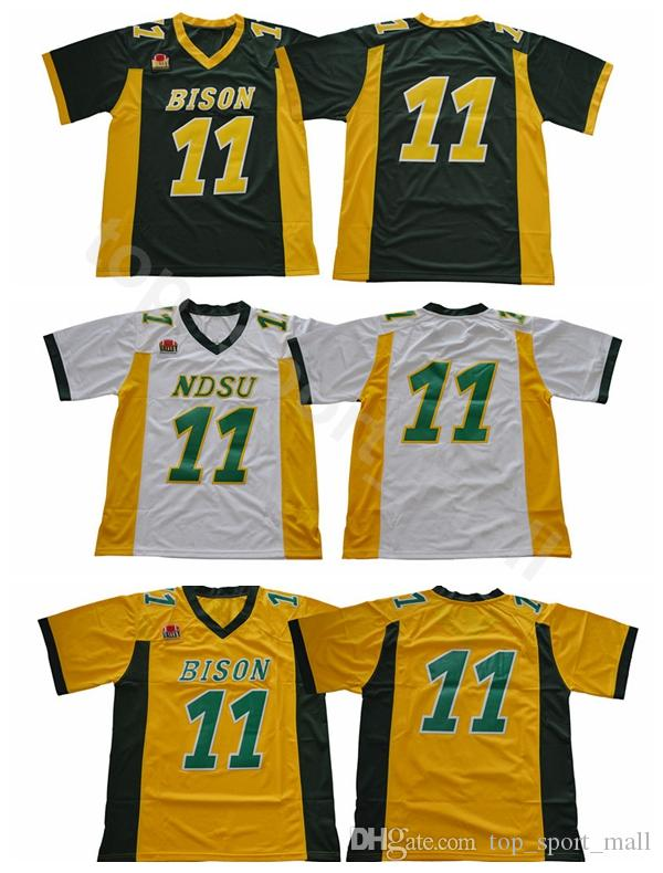 new product a076a 5848e NDSU Bison 11 Carson Wentz Football Jerseys North Dakota State College  Wentz Jersey Stitched University Team Green Yellow White