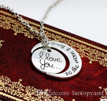 Te amo a la luna y collares traseros para las mujeres Accesorios de joyería de la boda broche de langosta collar colgante de oro plata regalos de Navidad