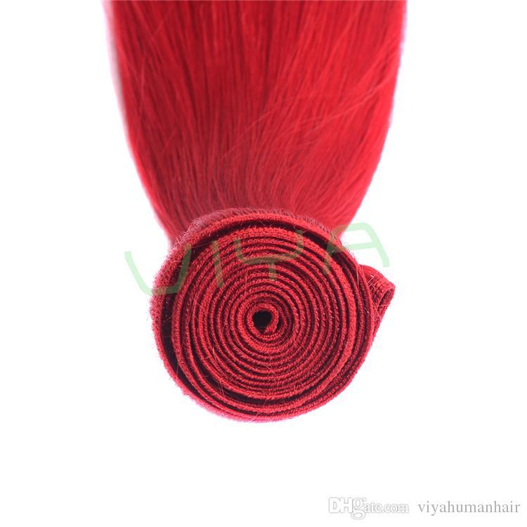 Brasilianisches Remy-Menschenhaar-Verlängerungs-gerades Menschenhaar 3 der roten Farbe bremst erstklassiges Bündel doppelt