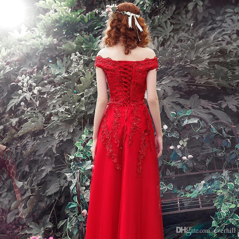 JaneVini 2018 Vintage Off Shoulder Beaded Red Lace Evening Dresses Long Party Dress Sexy Women Evening Wear Tulle A-Line Prom Formal Gowns