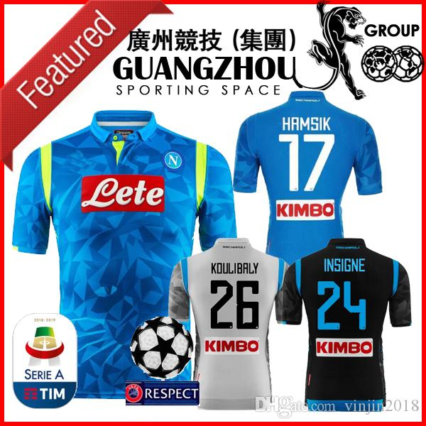 882ef367a 18 19 NAPOLI THIRD Champions League SOCCER JERSEYS HOME AWAY ...