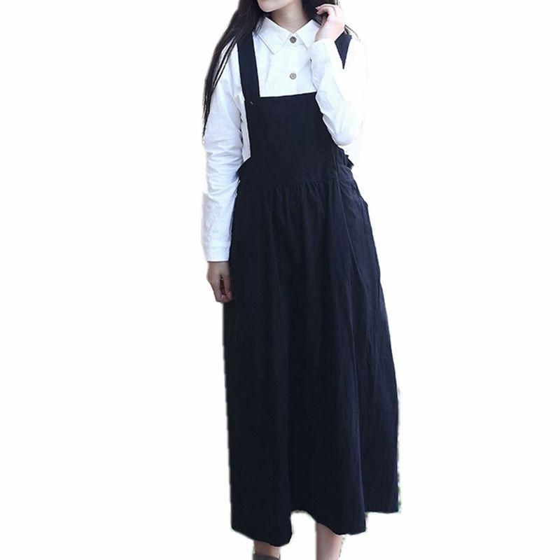 e0e411267ed 2019 Mori Suspender Skirt High Quality 100% Cotton Midi A Line Belt Skirt  High Waist Red Grey Black Long Femme Overall From Longmian