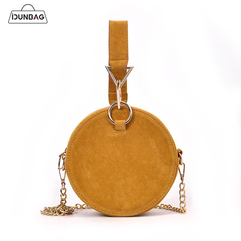 Round Shoulder Crossbody Bags For Women Nubuck Leather Female Handbags Chain Messenger Bag Mini Circle Tote Sac Yellow/Red/Black