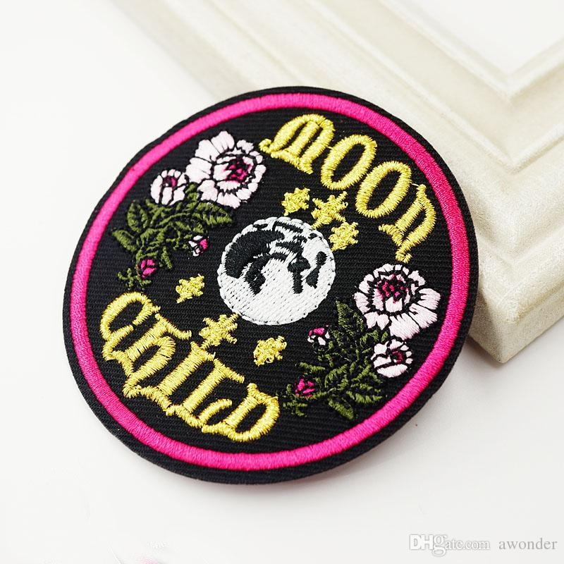 Moon Child Embroidery Patches Sew Iron On Applique Patch Flower Badge Hippie DIY Apparel Jeans Jacket Bag Hat Accessories