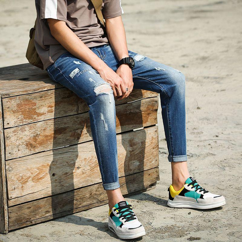 Ankle Length Pencil Jeans Pants Men Korean Fashion Street Style Streetwear Casual Male Slim Fit Skinny Denim Jeans Pants Men