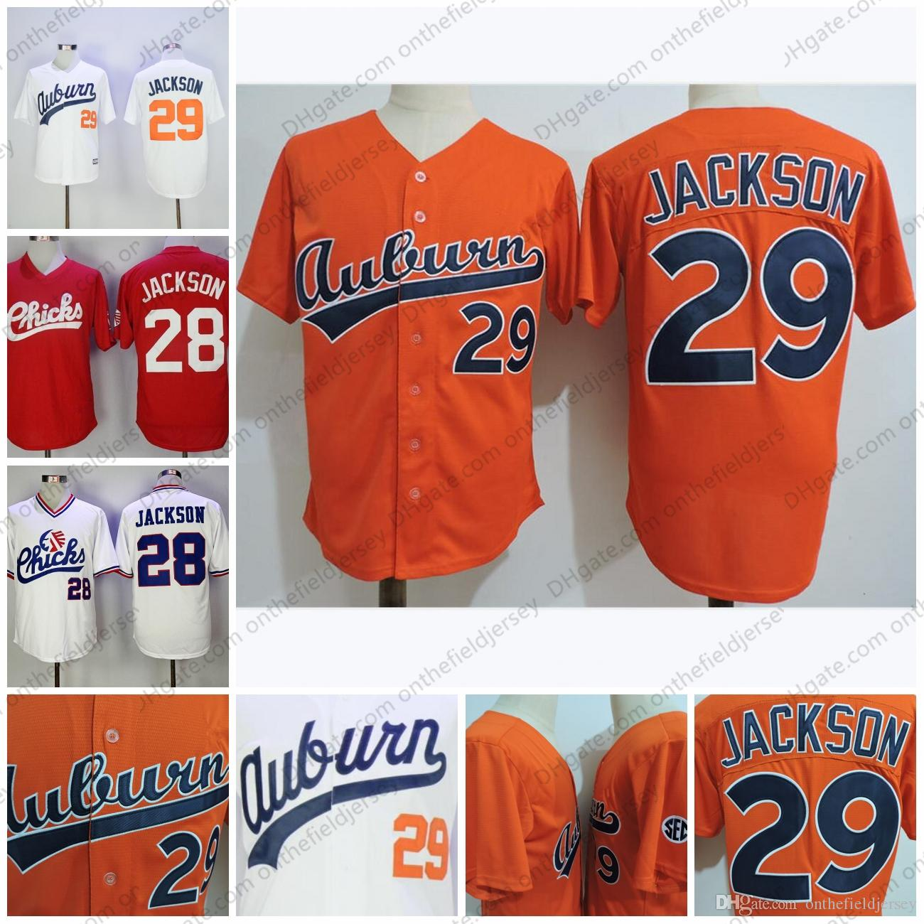 wholesale dealer 0d024 2d8a2 College Baseball Jerseys #29 Bo Jackson orange white Memphis Chicks Vintage  1986 Retro #28 red white Free Shipping S-3XL