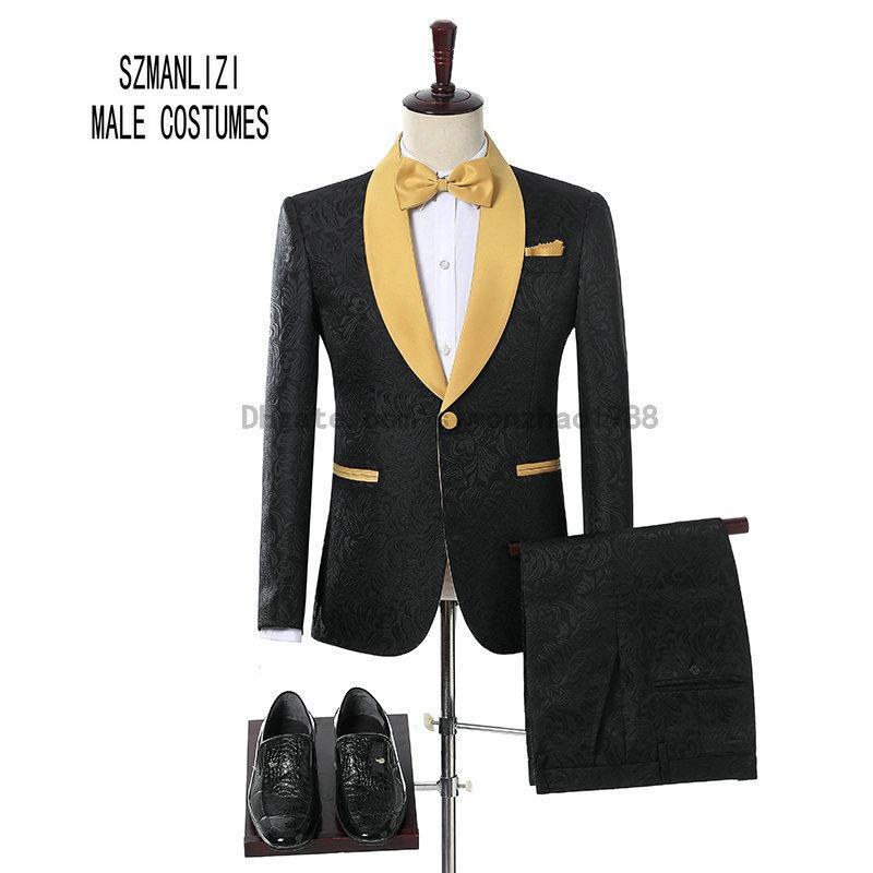 2018 Brand Groom Tuxedos padrinos de boda un botón negro de la flor del chal de oro solapa por encargo del desgaste del novio formal hombres boda esmoquin trajes de boda