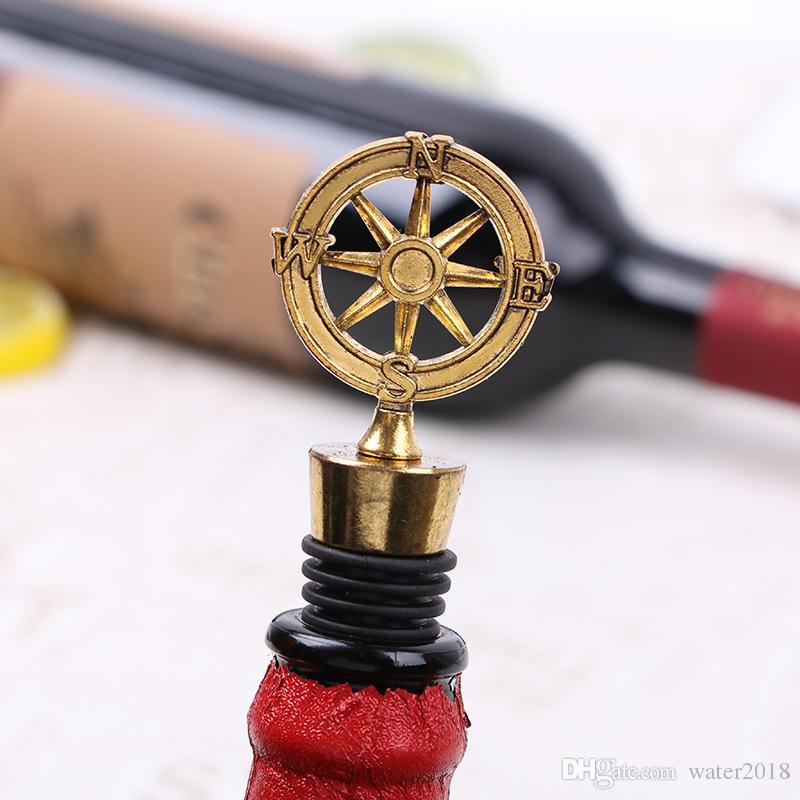 Novo casamento Chegada favores Wine Leme Bottle Stopper temático náutico Compass Wedding Shower Favors grátis DHL 80